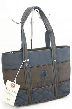 Borsa Shopping Piccola Greenwich Polo Club Tessuto Gommato Colore Blu/Marrone