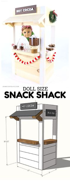 "A DIY tutorial to build a doll size snack shack perfect for 18"" American Girl Dolls. Includes free plans and how to tutorials for the accessories."