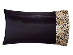 Black & Gold Satin Pillowcase Black Satin Pillow by SatinSwank