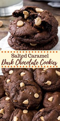Dark Chocolate Caramel Cookies Chocolate and caramel makes for the perfect combo in these incredible dark chocolate caramel cookies. They're rich, fudgy, extra chocolatey, filled with caramel baking bits and a touch of sea salt. Chocolate Caramel Cookies, Chocolate Chip Shortbread Cookies, Salted Caramel Mocha, Chocolate Sweets, Dark Chocolate Recipes, Crinkle Cookies, Spice Cookies, Yummy Cookies, Crack Crackers