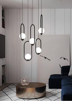 Stairway Lighting, Home Lighting, Entertainment Room, Glass Ball, Pendant Lamp, Contemporary Design, Minimalism, Ceiling Lights, Metal