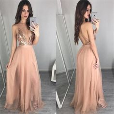 Prom Dress Princess, Deep V Neck Sequin Champagne Sexy Long Popular Prom Dress, Party Dress For Teens, Shop ball gown prom dresses and gowns and become a princess on prom night. prom ball gowns in every size, from juniors to plus size. V Neck Prom Dresses, Prom Dresses 2017, Prom Dresses Online, Prom Party Dresses, Dresses For Teens, Sexy Dresses, Evening Dresses, Dress Party, Prom Gowns