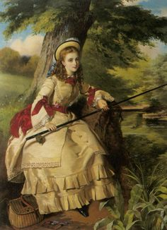"""""""A Young Lady Fishing"""" (1873) by William Maw Egley (1926-1916)."""