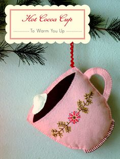 hot cup cocoa felt embroidery ornament #pink