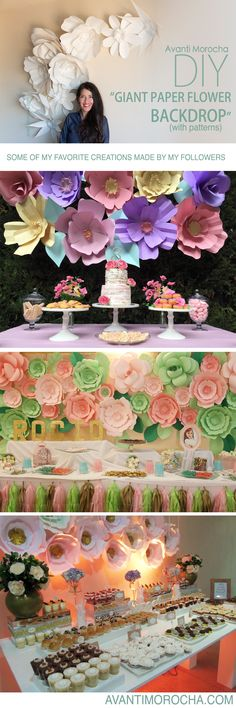 "DIY "" Giant Paper Flower Backdrop"" Weddings, event decor. Download the flowers templates from my blog avantimorocha.com or buy them with one click on my Etsy shop https://www.etsy.com/shop/AvantiMorochaDIYs  Please don't forget to share your creations on my Facebook page https://www.facebook.com/La...  or tag me on Instagram @avantimorocha_1 I'd love to see them :)"