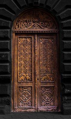 Old wooden door in Yerevan, Armenia
