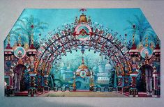 land of the sweets large decor. | Konstantin Ivanov's original sketch for the set of The Nutcracker, Act ...