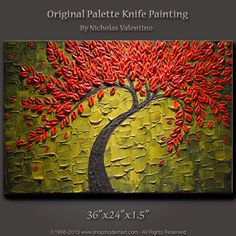 """Large 36""""x24""""x1.5"""" Original Blossom Tree Painting Palette Knife - Olive Green  Impasto on Gallery Canvas - Ready to Hang FAST FREE SHIPPING!"""
