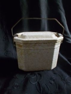 vintage French enamel lunch pail, lemon snowflake useful & decorative!!!!!
