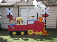 My train carnival cut out & crossing signs. I think I did pretty good! (for copying an idea! Trains Birthday Party, Carnival Birthday Parties, Birthday Party Themes, 2nd Birthday, Birthday Ideas, Halloween Photos, Halloween Kids, Dinosaur Train Party, Carnival Booths