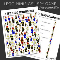Free printable LEGO minifigures themed I Spy game for kids from And Next Comes L