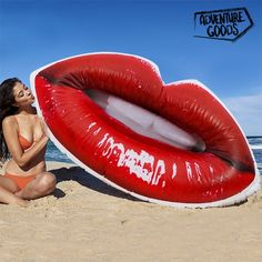 Jump into the water with the unusual Adventure Goods inflatable Lips lilo! You can use it at the beach or in the pool and relax while sunbathing. Swimming Pool Accessories, Pool Floats, Us Beaches, Beach Pool, Outdoor Activities, Swimming Pools, Adventure, Outdoor Decor, Instagram