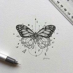 inspirational butterfly tattoo drawings, geometric tattoos, butterfly tattoo ideas for inspiration A Kunst Tattoos, Tattoo Drawings, Body Art Tattoos, New Tattoos, Tattoo Sketches, Art Drawings, Tatoos, Xoil Tattoos, Forearm Tattoos