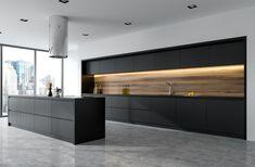 Kitchen Tiles Design, Luxury Kitchen Design, Contemporary Kitchen Design, Kitchen Cabinet Design, Interior Design Kitchen, Black Kitchen Cabinets, Black Kitchens, Kitchen Island, Kitchen Black