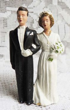 French Vintage Bride and Groom Wedding Cake Cake Topper via Etsy.