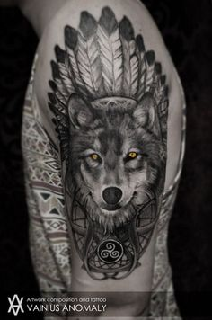 Cool native american style wolf with yellow eyes tatoo on shoulder