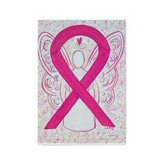 Hot Pink Awareness Ribbon Angel Art Cutting Board- The hot pink or magenta awareness ribbon supports awareness for  inflammatory breast cancer.