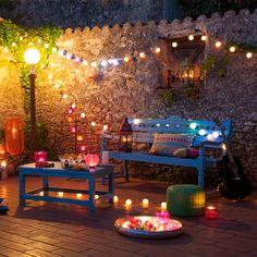ideas low cost decorar fiesta terraza guirnaldas colores