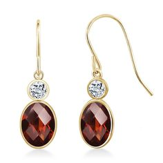 1.88 Ct Oval Checkerboard Red Garnet White Topaz 14K Yellow Gold Earrings * Click image to review more details. (This is an affiliate link) #NiceJewelry