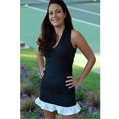 Smashing Golf & Tennis Diana Ruffle Skort Black/Blue Houndstooth | #Golf4Her