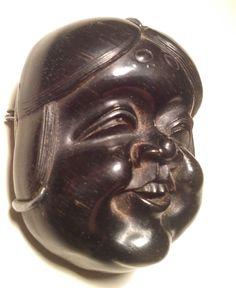 Netsuke Hand Carved Signed Wood Figurine O Beshimi Noh Mask Japan