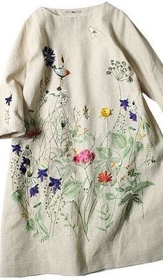 Winter day dress idea. Like in soft wool felt... embroidery look panel.