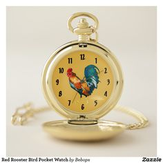Red Rooster Bird Pocket Watch