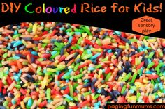 DIY Coloured Rice for Kids! Simple, inexpensive & it has so many uses! Wonderful for sensory play!