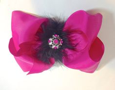 Dance Competition Big Fuchsia Hot Pink and Black  Deco Rhinestone Marabou Feather Cheer Size Hair Bow. Available in pink, blue, black, red, turquoise, white,purple, lavender, orange, chocolate. by FancyGirlBoutiqueNYC