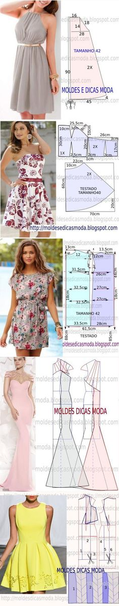 The best DIY projects & DIY ideas and tutorials: sewing, paper craft, DIY. DIY Women's Clothing : Moldes de Vestidos Más -Read Diy Clothing, Sewing Clothes, Dress Sewing Patterns, Clothing Patterns, Fashion Sewing, Diy Fashion, Diy Kleidung, Diy Vetement, Diy Mode