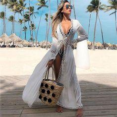 2019 New Bikini Beach Skirt Tunics for Beach Long Leaves Print Bikini Cover up Robe de Plage Sarong Beach Swimsuit cover-ups Beachwear Fashion, Beachwear For Women, Women Swimsuits, Bikini Cover Up, Swimsuit Cover, Swim Cover, Beach Wear Dresses, Summer Dresses, Tunic Dresses