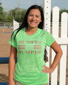 Neon Green Burnout Juniors Horse Tee Hunter Jumper by GoPony, $25.00