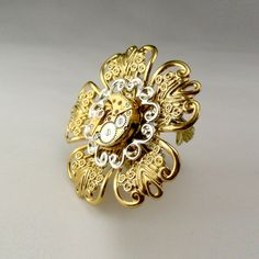 Steampunk / Goth / Cosplay Victorian Filigree Flower Adjustable Ring (mechanical watch movement)