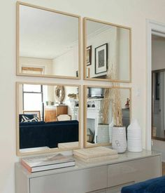 FRAME Lots (or other ikea mirror) --- maybe even stick them on a piece of MDF and frame that? Uniquely-Shaped Mirror Décor For Your Condo Interior Design Ikea Nissedal, Home Living Room, Living Room Decor, Condo Interior Design, Faux Window, Three Bedroom House, Apartment Therapy, Layout, Fresh Start
