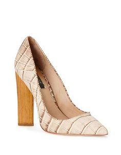 bf1553c71b2 Rachel Zoe Petra Wood Heel Pumps Women s Natural 10M Block Heel Shoes