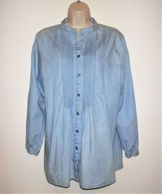 396582520846c North Style Womens Size XL Buttons Down Top Blouse Long Sleeve Blue Denim  Cotton  fashion
