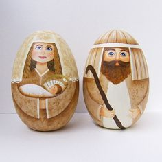 Nativity - Jesus, Mary & Joseph - Set of 2 Solid Wooden Eggs - Hand Painted $48