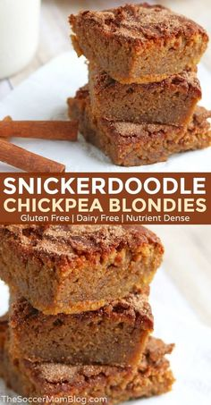Aug 2019 - These delicious and healthy Snickerdoodle Chickpea Blondies taste so darn good! Rich and chewy with tons of sweet, spicy cinnamon - gluten and dairy free! Healthy Dessert Recipes, Healthy Baking, Vegan Desserts, Healthy Desserts, Baking Recipes, Delicious Desserts, Easy Recipes, Diet Recipes, Vegan Recipes