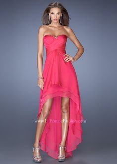 La Femme 19471 is a cute high-low prom dress with ruched neckline and subtle sparkle detail. Strapless Prom Dresses, Prom Dresses 2015, Beaded Prom Dress, Prom Dresses For Sale, Beaded Chiffon, Wedding Dresses, High Low Chiffon Dress, High Low Evening Dresses, Evening Gowns