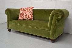 Our Antique Edwardian Green Upholstered Small Sofa Settee