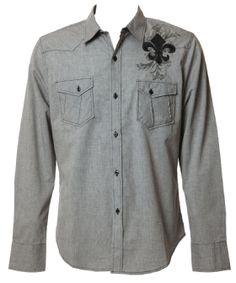 Pop Icon  Eddie Shirt - button up in grey  $59.50