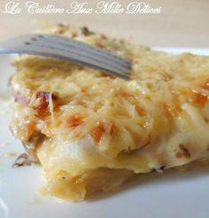 Lasagnes aux champignons, lardons et oignon