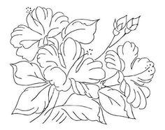 pintura-em-tecido risco hibiscos