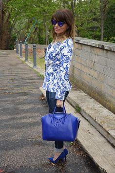 Blazer com estampa de azulejos portugueses