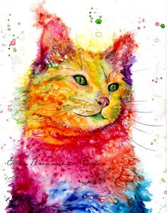 Cat Spirit power animal art print by Ellen Brenneman cat pictures art