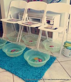 pedicure area....I like the extra bowls waiting under the chairs