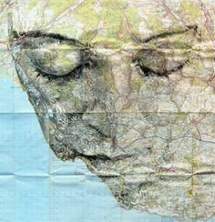 Portraiture creations using old maps.