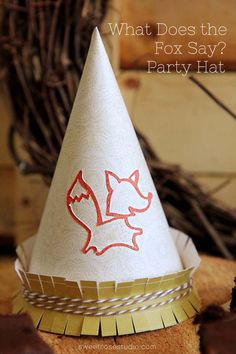 What Does the Fox Say Party Hat made with Cricut Explore -- Sweet Rose Studio. #DesignSpaceStar Round 3