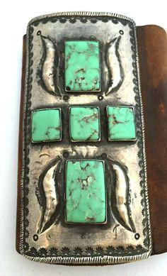 Native American Vintage Sterling Silver & Turquoise Ketoh Bracelet