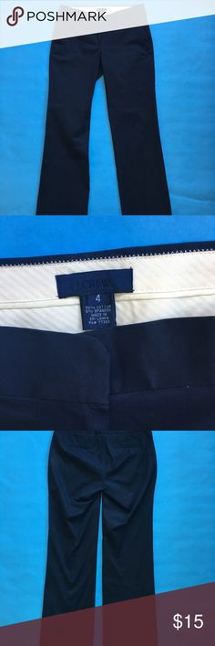 JCrew City Fit Navy Blue Pants JCrew City Fit Khakis   	•	Size: 4  	•	Color: Navy Blue  	•	95% Cotton  	•	Single clasp closing and zipper  	•	Made in Sri Lanka  	•	The Pants are in excellent condition (see above)  Measurements 	•	Inseam- 32 inches 	•	Pant Leg - 40 inches  	•	Waist- 30 inches 	•	Front Rise - 10.5 inches 	•	Back Rise - 13 inches  	•	Hips - 36 inches 	•	Leg Opening- 18 inches  All measurements taken while laid flat Any questions feel free to contact seller :) J. Crew Pants…